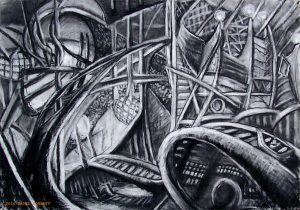 The Boat Ride 30 x 40 charcoal on paper