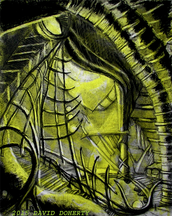 """Point of Embarkation 16"""" x 20"""" charcoal, acrylic and pastel on board"""