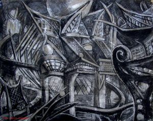 Haunted House on the boat ride 30 x 40 charcoal and acrylic on board