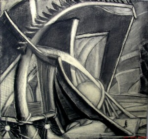 "Theater 21"" x 22"" charcoal on paper"