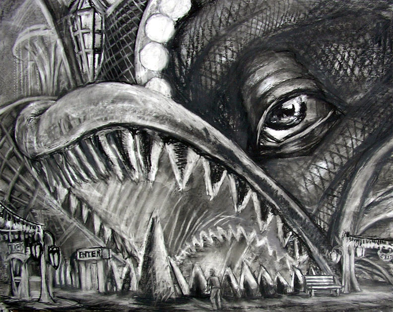 "Entrance To The Boat Ride, 30"" x 42"" charcoal, pastel on painted board"