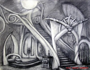 "Open Drawer in the Hall 16"" x 20"" charcoal"