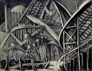 Amusement Park Midway 16x20 charcoal