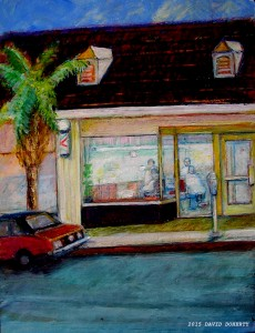 Palisades Barbershop acrylic on board