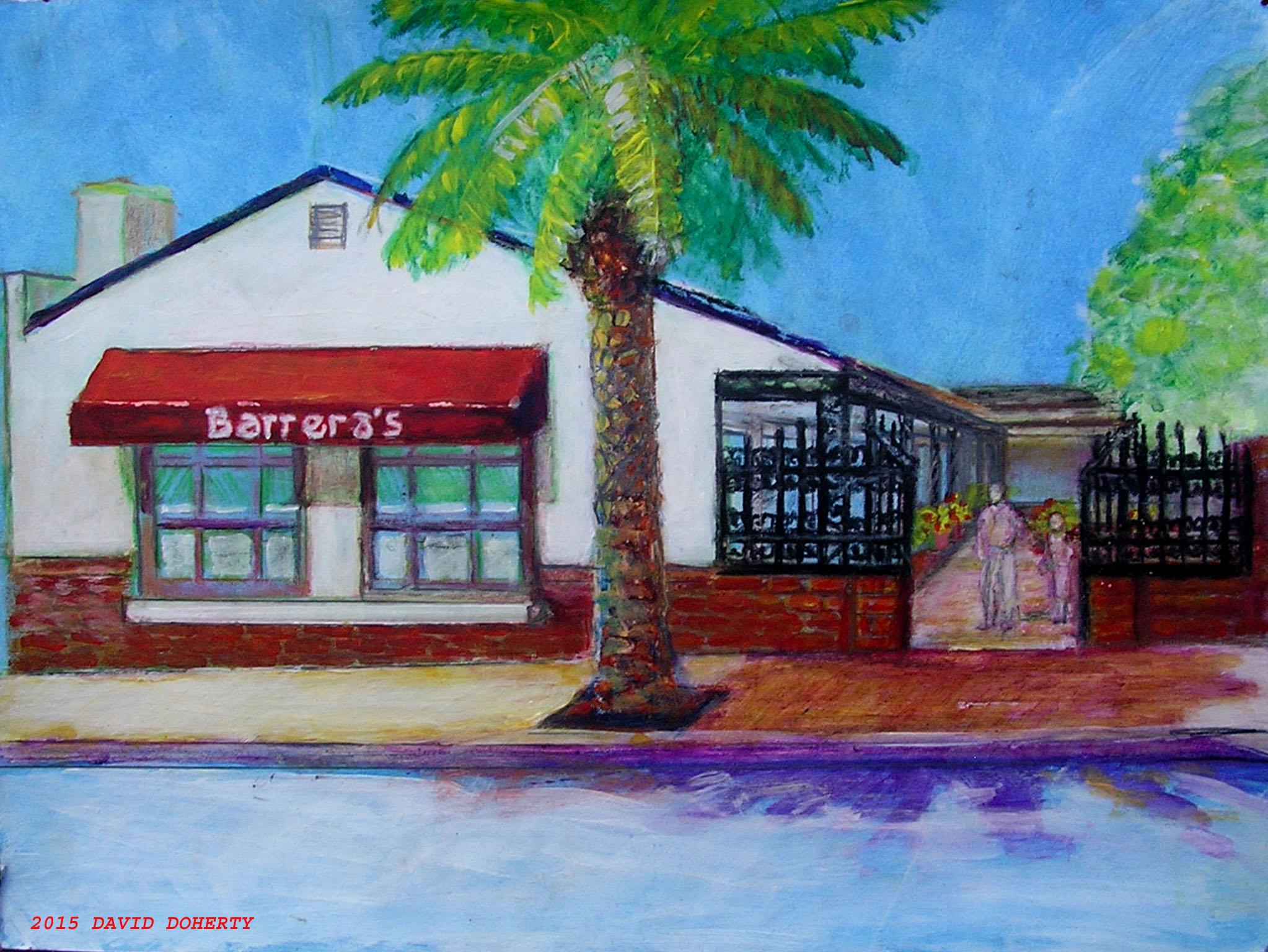 Barrera's Pizza acrylic on board