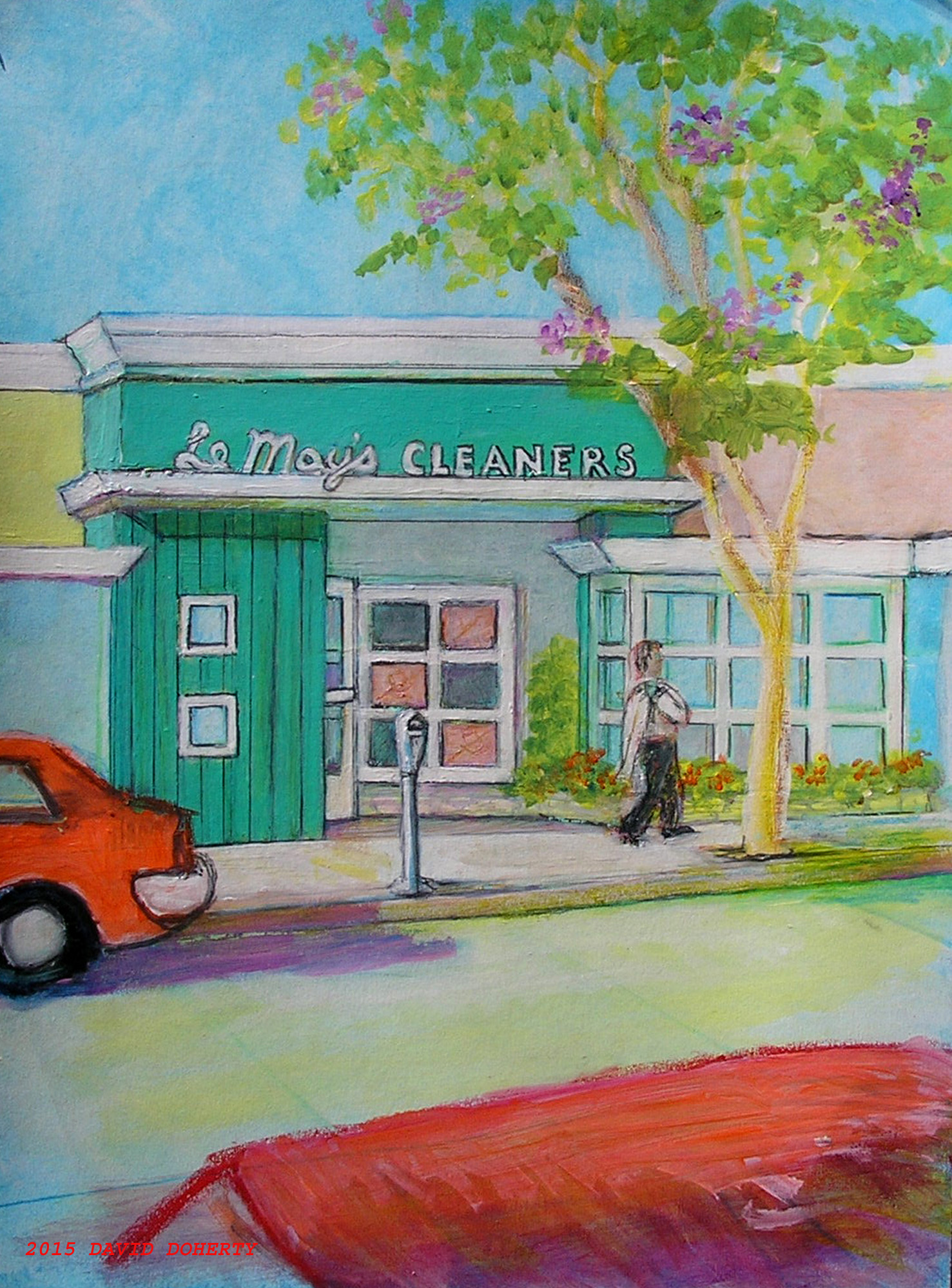 LeMays Dry Cleaners acrylic on board